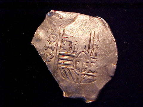 Spanish New World Silver 8 Reales COB Clipped, MEXICO, P, w/CHOP MARKS, Philip IV. #1391 Colonial Coins
