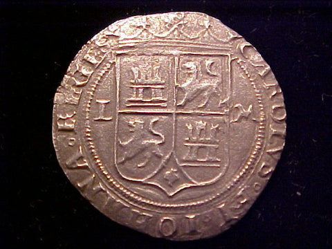 Spanish New World Carlos-Juana Silver 2 Reale, MEXICO CITY, LM, Recovered from Padre Island, #1405 Colonial Coins