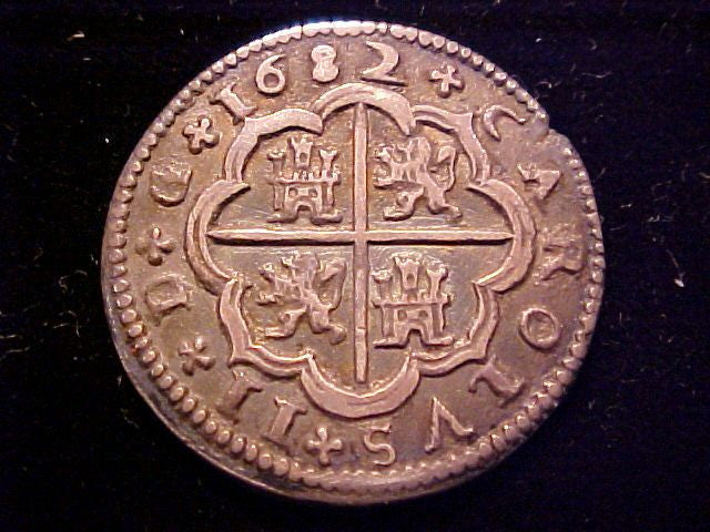 Spanish Old World Silver 2 Reales Dated 1682 Carlos Ii