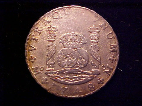 Spanish New World Silver 1748 MEXICO, MF, 8 Reales PILLAR SCREW PRESS, #1412 Colonial Coins