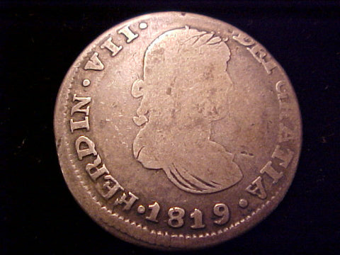 Spanish Old World Silver 1819 Portrait 2 Reales, FERDIN VII, AG, Zacatecas, #1417 Colonial Coins
