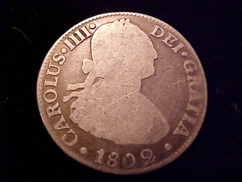 Spanish New World Silver 1802 Portrait 2 Reales, CAROLUS IV, Mexico, FI, #1418 Colonial Coins