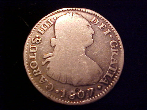 Spanish New World Silver 1807 Portrait 2 Reales, CAROLUS IV, BOLIVIA, P.J. #1419 Colonial Coins
