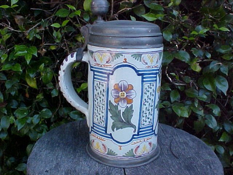 Large 18th Century Dutch Porcelain & Pewter Tavern Stein Dated 1782, #1423 Antiquery
