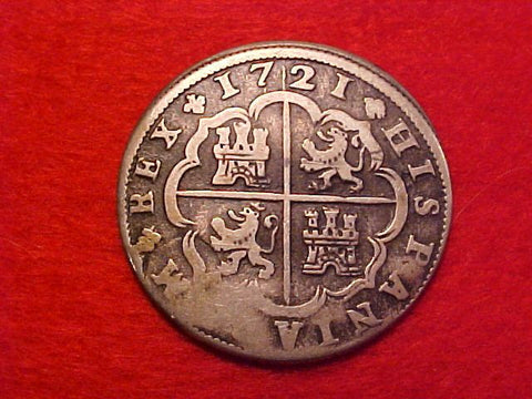 Spanish Old World Silver 2 Reales Dated 1721, PHILIP V, Segovia, F, #1427 Colonial Coins