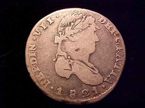 Spanish New World, WAR of INDEPENDENCE Royalist Coinage, Silver 1821 Portrait 2 Reales, FERDIN VII, ZACATECAS, A.G., #1429 Colonial Coins