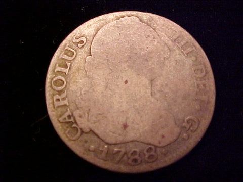 Spanish Old World Silver 1788 Madrid, Spain, 2 Reales, CAROLUS III, PORTRAIT SCREW PRESS, #1430 Colonial Coins