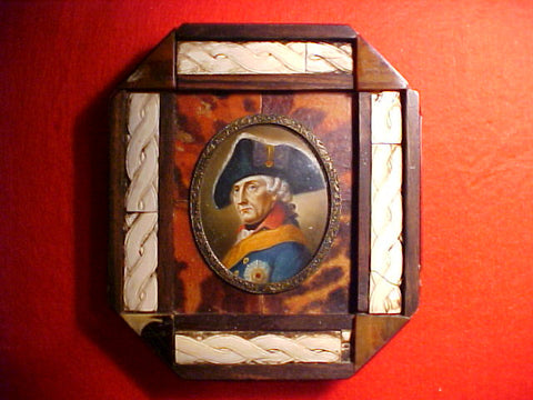 Miniature On Ivory Painting of King Friedrich der Grasse (Frederick The Great) Framed In Tortoise & Ivory Dated 1779, #1469 Militaria