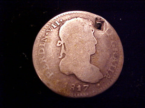 Spanish New World Silver 1817, 1 Reale Portrait Type, Lima, Peru., FERDIN VII, #1499 Colonial Coins