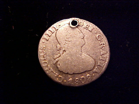 Spanish New World Silver 1808, 1/2 Reale Portrait Type, Bolivia., PJ, CAROLUS IIII, #1502 Colonial Coins