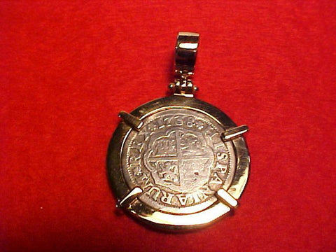 Spanish Old World Silver 1 Reale Dated 1738 Set In 14 K GOLD. #1511 Colonial Coins