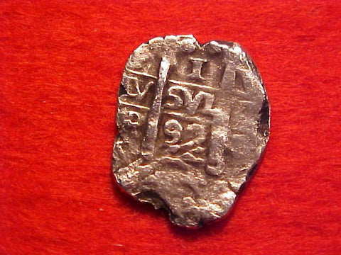 Spanish New World Silver 1 Reale Cob Dated 1692, Potosi, Charles II, V, #1539 Colonial Coins