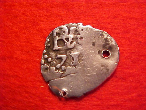 Spanish New World Silver 1/2 Reale Cob Dated 1671, Potosi, Charles II, #1542 Colonial Coins