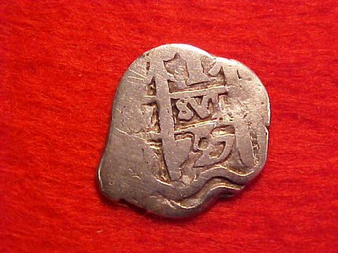 Spanish New World Silver 1 Reale Cob Dated 1727, Potosi, Philip V, #1545 Colonial Coins