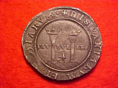 Spanish New World Carlos-Juana Silver 4 Reale, MEXICO CITY, MG, Recovered from Padre Island, #1549 Colonial Coins