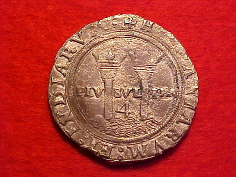 Spanish New World Carlos-Juana Silver 4 Reale, MEXICO CITY, ML, Recovered from Padre Island, #1550 Colonial Coins