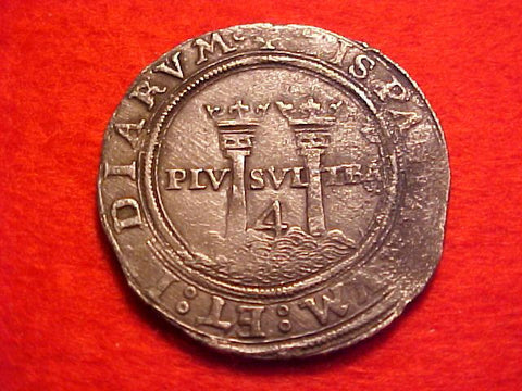 Spanish New World Carlos-Juana Silver 4 Reale, MEXICO CITY, MG, Recovered from Padre Island, #1551 Colonial Coins