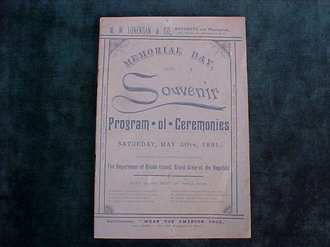 American GAR, The Department of Rhode Island, Grand Army of the Republic, Civil War Proof of Service Program of Ceremonies, 1891 Document, #1576 Early Paper