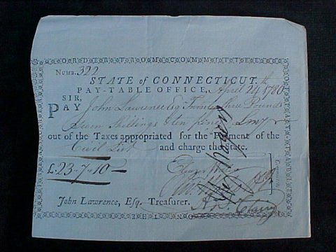 Early American 1786 CONNECTICUT Tax Payment Document, #1577 Early Paper