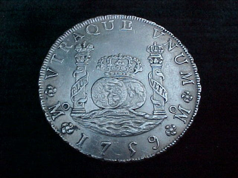 Spanish New World Silver 1759 MEXICO, MM, 8 Reales PILLAR SCREW PRESS, #1773 Colonial Coins