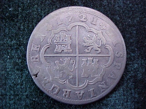 Spanish Old World Silver 2 Reales Dated 1721, PHILIP V, Madrid, A, #1788 Colonial Coins