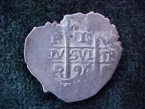 Spanish New World Silver 1 Reale COB, Dated 1696, PILLAR & WAVE TYPE COB, POTOSI, CHARLES II, VR, #1799 1715 PLATE FLEET