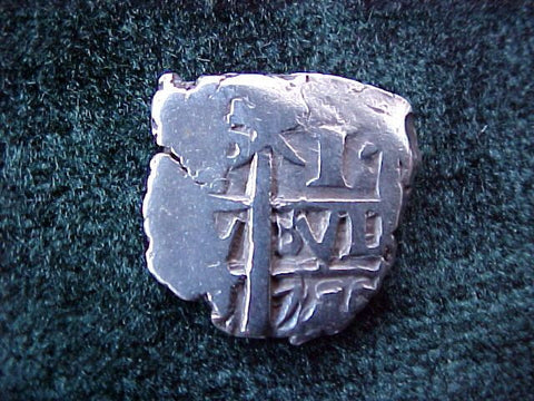Spanish New World Silver 1 Reale Cob Dated 17--, Potosi, Philip V, #1805 Colonial Coins
