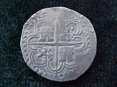 Spanish Old World Silver 2 Reales COB, Dated 1589, SEVILLE SPAIN, I, PHILIP II, #1810 Colonial Coins