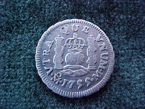 Spanish New World Silver 1755, MEXICO, M, 1/2 Reales PILLAR, #1834 Colonial Coins