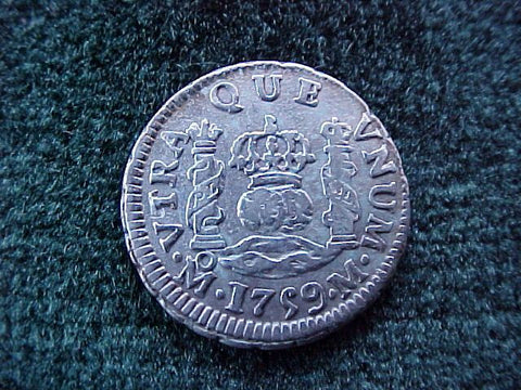 Spanish New World Silver 1759, MEXICO, M, 1/2 Reales PILLAR, #1835 Colonial Coins