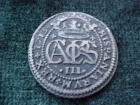 Spanish Old World Silver 2 Reales Dated 1713, CARLOS III, Spain, #1839 Colonial Coins