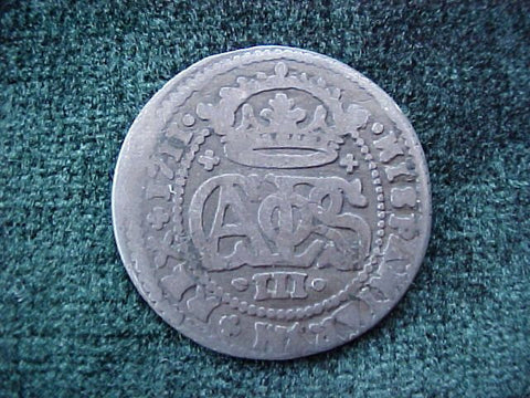 Spanish Old World Silver 2 Reales Dated 1711, CARLOS III, Spain, #1841 Colonial Coins