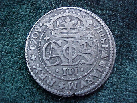 Spanish Old World Silver 2 Reales Dated 1709, CARLOS III, Spain, #1842 Colonial Coins