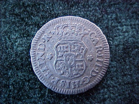 Spanish New World Silver 1765, MEXICO, M, 1/2 Reales PILLAR, #1847 Colonial Coins