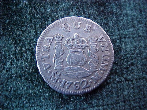 Spanish New World Silver 1762, MEXICO, M, 1/2 Reales PILLAR, #1848 Colonial Coins