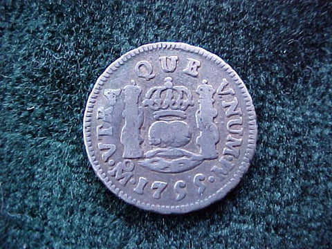Spanish New World Silver 1755, MEXICO, M, 1/2 Reales PILLAR, #1856 Colonial Coins