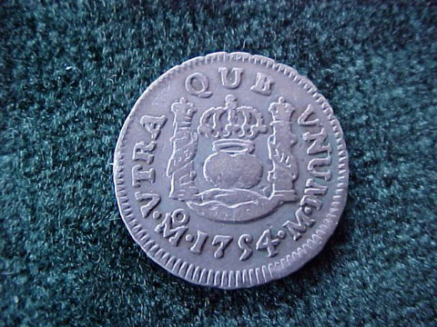 Spanish New World Silver 1754, MEXICO, M, 1/2 Reales PILLAR, #1857 Colonial Coins