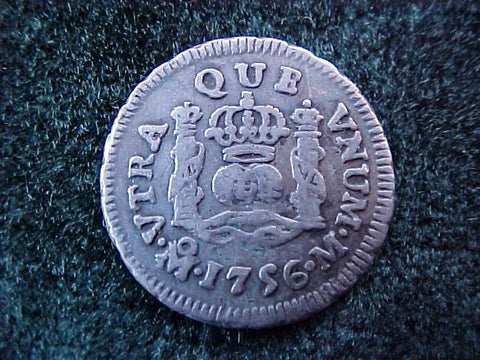 Spanish New World Silver 1756, MEXICO, M, 1/2 Reales PILLAR, #1859 Colonial Coins