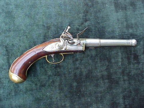 English Flintlock Turn-Off Cannon Barrel Pistol by J. HALL, #1973 Firearms