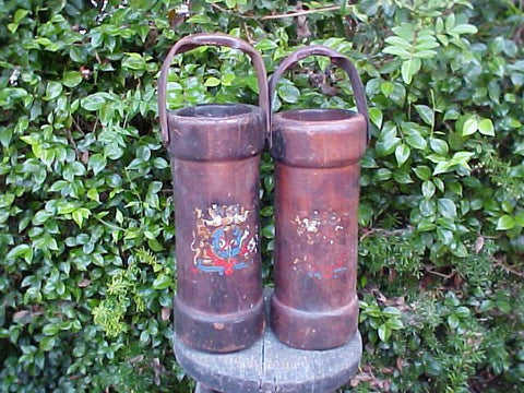 (PAIR) of 18th-early 19th Century English Military Cannon Powder Buckets, #2002 Militaria
