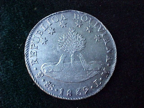 Silver 8 Sol. Republic of BOLIVIA, BOLIVAR, Dated 1839, #2026 Colonial Coins