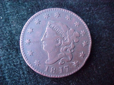 US 1817 Large CENT 13 Stars Variety, #2028 Early US Coins