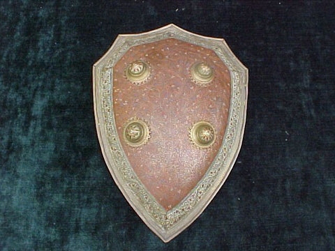 A Small Decorative Indian Shield of Engraved and Enameled Brass #2063