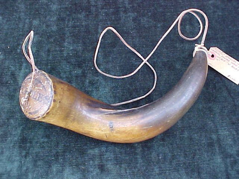 Large American Colonial Powder Horn w/Owners Name; W. BOLES, #2092 Powder Flasks