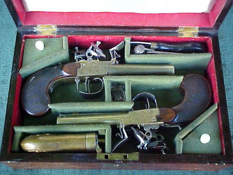 (PAIR) of RUSSIAN, TULA, All Brass Double Barrel Side-By-Side Box-Lock Flint Pistols, #2127 Firearms