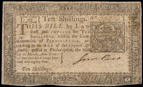 Ten Shillings Pennsylvania of March 16, 1785, #2199 Colonial Currency