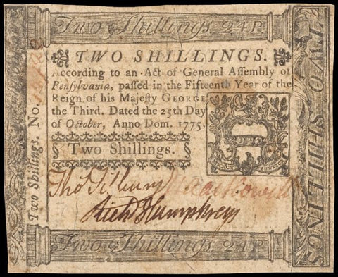Pennsylvania. October 25, 1775. Two Shillings, #2200 Colonial Currency