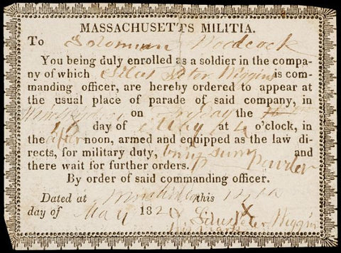 Bold 1820 Massachusetts Militia Officer's Document, #2212 Colonial Currency