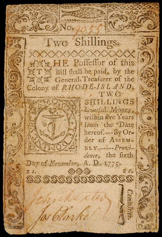 November 6, 1775 Two Shillings Rhode Island Note, #2221 Colonial Currency