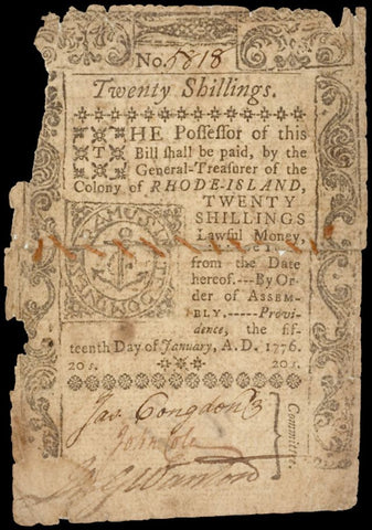 January 15, 1776 Rhode Island Sewn Note, #2226 Colonial Currency